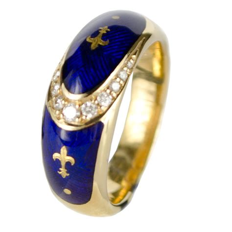 18ct yellow gold blue enamel ring faberge from