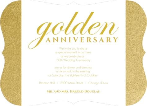 Shimmering Golden 50th Anniversary Party Invitation Template Golden Anniversary Invitation Templates