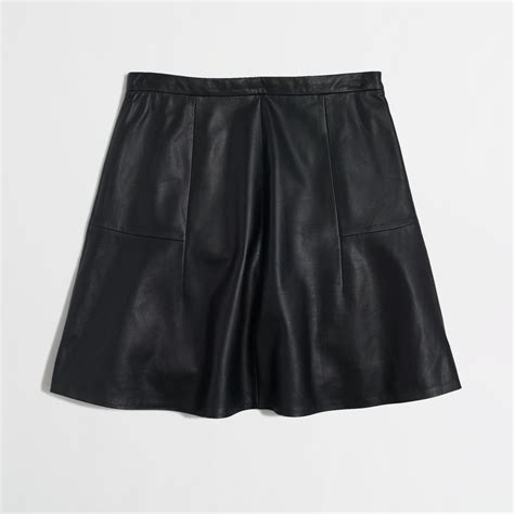 j crew factory flared leather skirt in black lyst