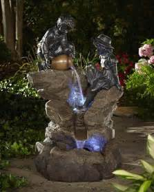 outdoor solar net lights lighted water wheel fountain add ambience with fountain