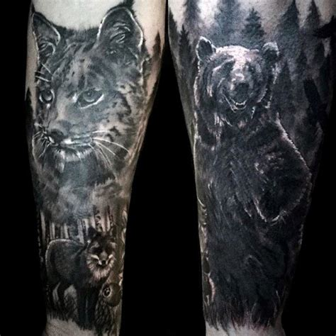 bear tree tattoo and fox forest forearm tattoos tattoos