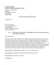 Letter Of Offer Commercial Lease 8 Real Estate Offer Letter Template 9 Free Word Pdf