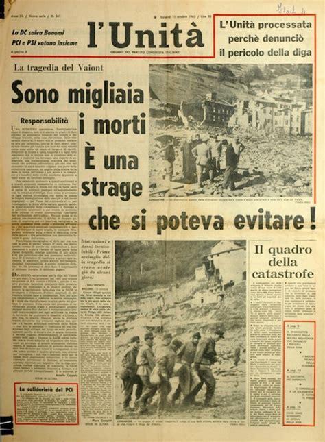 testate dei giornali vajont le prime pagine dei giornali 1963 udine 20