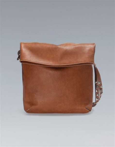 Zara Chain Brown zara bag with studded handle in brown lyst