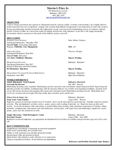 Resume Samples Career Change by Paraprofessional Resume 2015