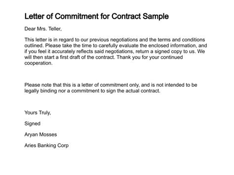 Letter Of Commitment Vs Letter Of Intent Sle Agreement Letter Between Two Lending Money Exle Of Agreement Letter Between