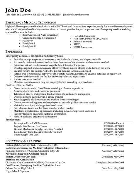 Emt Resume Template by Emt Paramedic Resume Sle Http Resumesdesign Emt