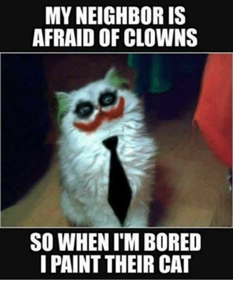 my is scared of me my is afraid of clowns so whenimbored i paint their cat cats meme on me me