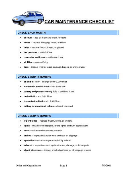 Car Maintenance Checklist Template by Car Maintenance Checklist Template Car Maintenance Tips