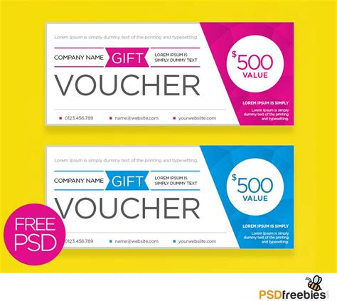 Download Free Clean And Modern Gift Voucher Template Psd Freebies A Gift Card Template That Is Gift Coupon Template