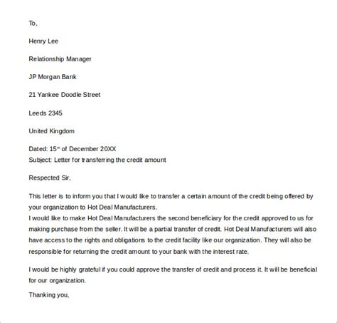 Transferable Credit Letter Sle Letter Of Credit 14 Sles Exles Format