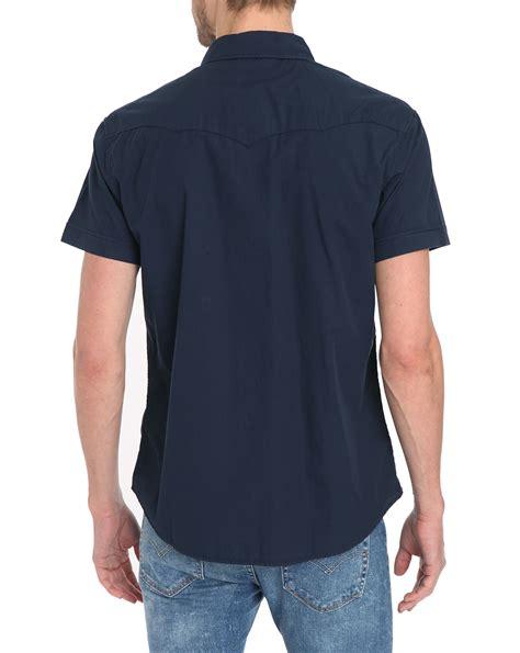 Sleeve Shirt Navy Blue wrangler sleeve navy blue shirt in blue for lyst