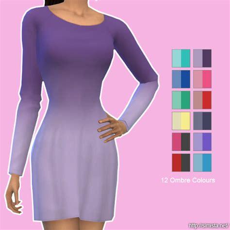 Longdress Cc sleeve ombre dresses for elder females sims