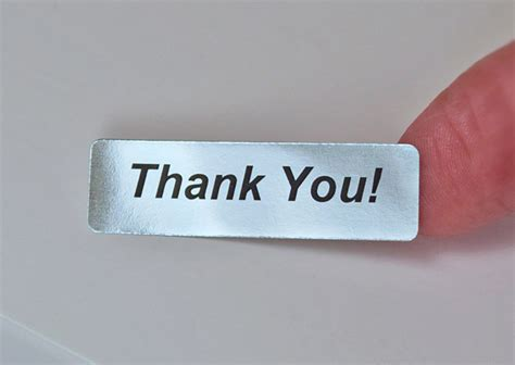Label Stickers thank you 400 silver foil label stickers thankyou