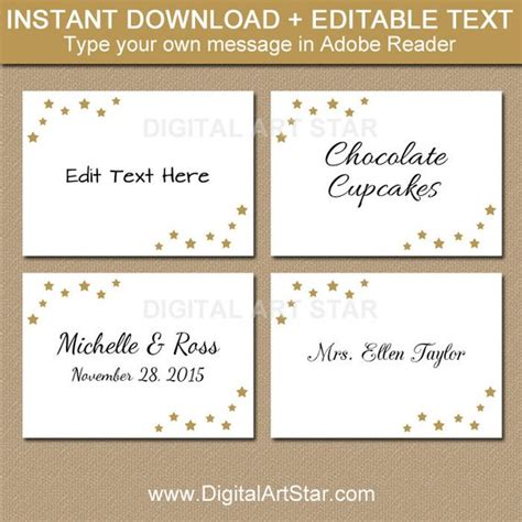 free template food cards editable wedding labels printable food labels