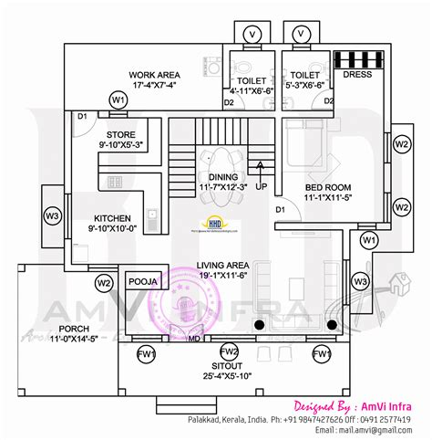 3d ground floor plan 3d view with floor plan kerala home design and floor plans