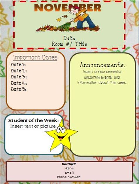 free november newsletter templates miss s class editable newsletters
