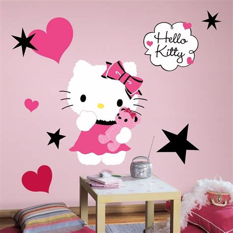 kitty couture wall decals big girls kitten stickers pink black room decor ebay