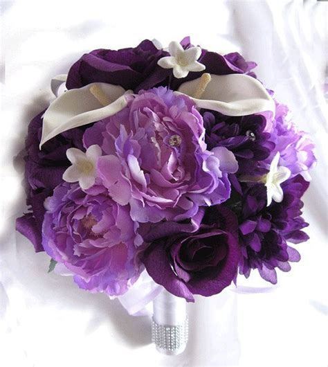 wedding bouquet bridal silk flowers plum purple lavender calla 19pc package bridal