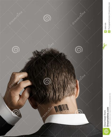 barcode tattoo audio businessman with barcode tattoo on neck scratching his