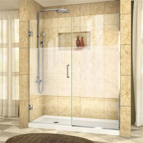 Dreamline Shower Door Installation Shop Dreamline Unidoor Plus 59 5 In To 60 In W Frameless Chrome Hinged Shower Door At Lowes