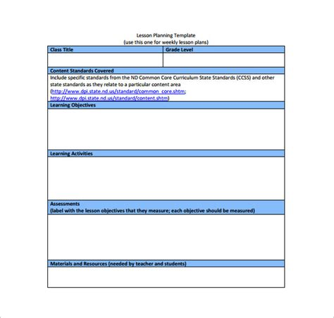 lesson plan template for common search results for kindergarten common lesson plan