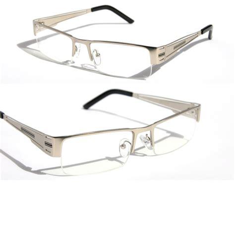 rectangular half rimless metal sun glasses optical rx
