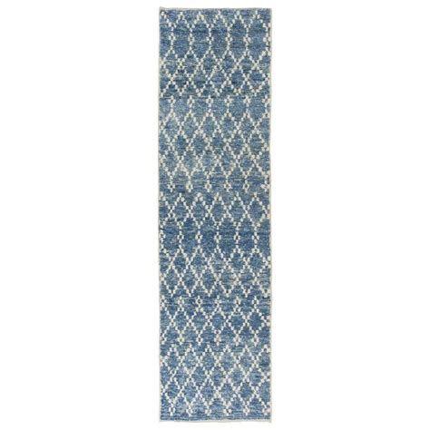 light blue moroccan rug moroccan wool runner in light blue color for sale at 1stdibs