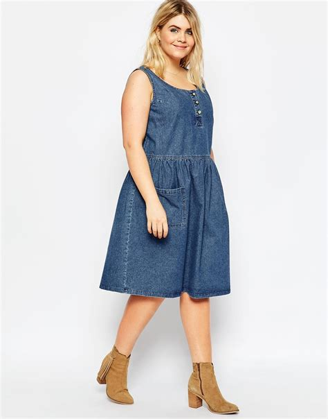 V Neck Midi Pinafore Dress asos soft denim midi pinafore dress with patch pockets