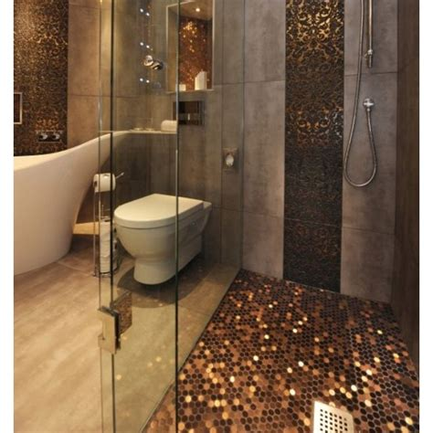 penny tile bathroom floor penny flooring and wall panel love copper in bathrooms