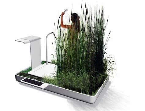 Eco Shower by An Eco Shower Equipped With Water Filtering Plants