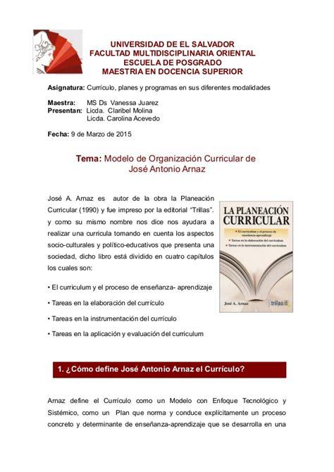 Modelo Curricular De Arnaz Modelo De Organizaci 243 N Curricular De J A Arnaz