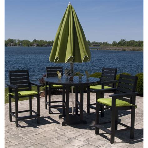 High Top Patio Furniture Set Polywood Captain Hi Top Patio Set Furniture For Patio