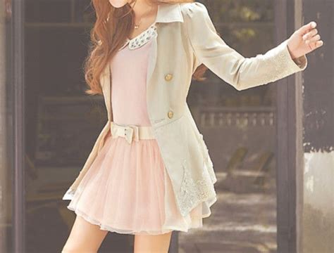 dress kfashion korean pink belt coat white