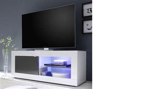 Meuble TV blanc et gris laqué design FOCUS 3