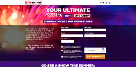 Live Nation Sweepstakes 2017 - sweepstakeslovers daily sutter home usa network more