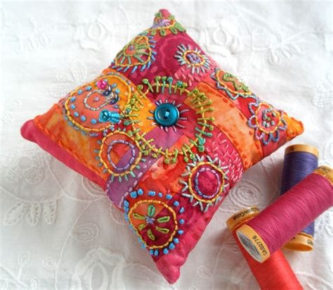 Patchwork Pincushion - color me happy pincushion embroidered patchwork