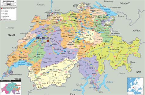 map of switzerland and germany with cities printable switzerland political map swiss administrative