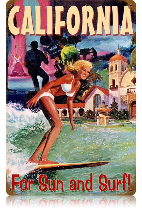 California Surfer Vintage Metal Sign