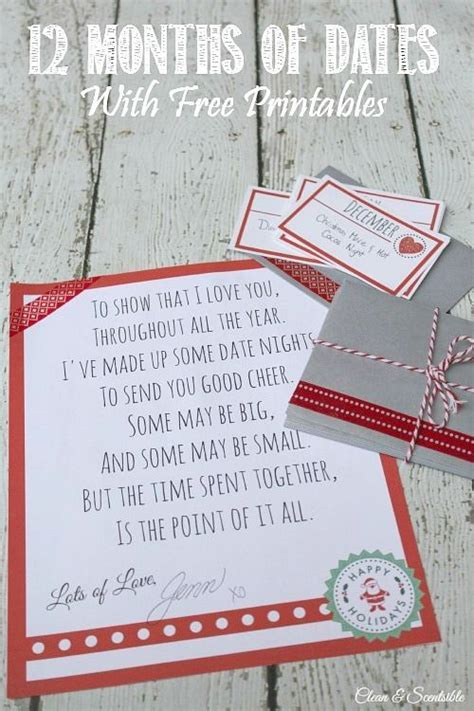 12 months of dates christmas gift ideas christmas gift