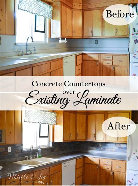 Faux Kitchen Backsplash concrete countertops without ripping out your laminate