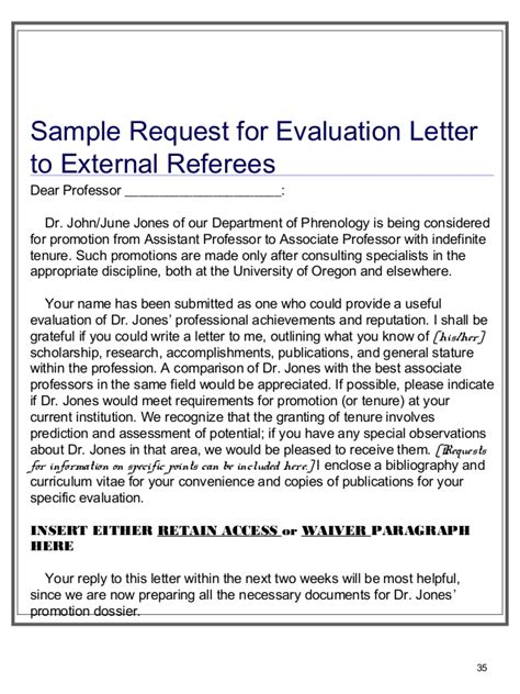 Tenure Evaluation Letter preparing tenure files for dept heads ofcmanagers staff