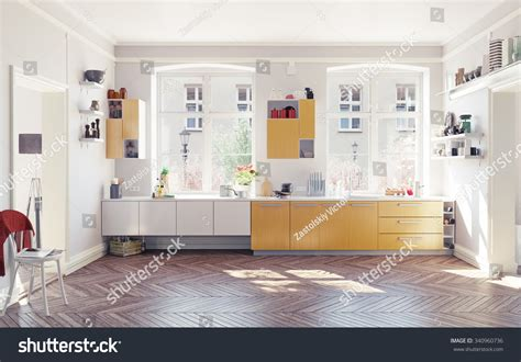 modern kitchen interior 3d rendering modern kitchen interior 3d render concept stock