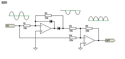 diode bridge op circuit a wave precision rectifier query