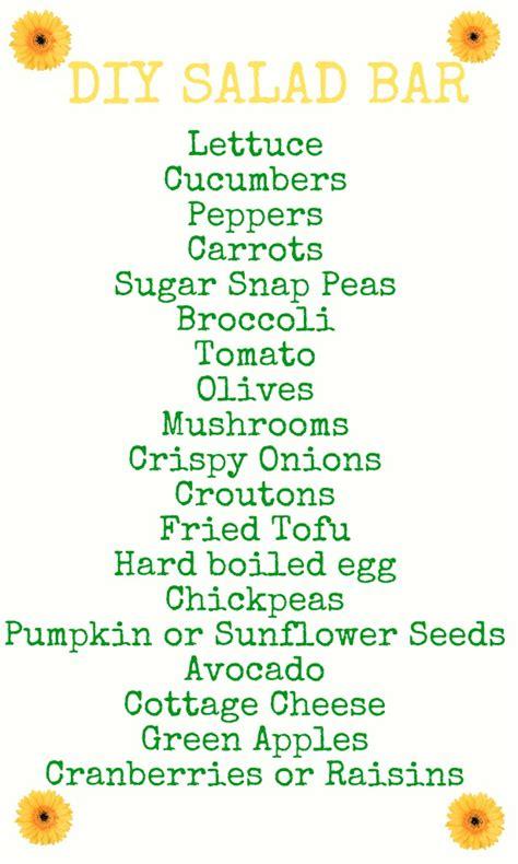 salad bar toppings list aliment diy salad bar