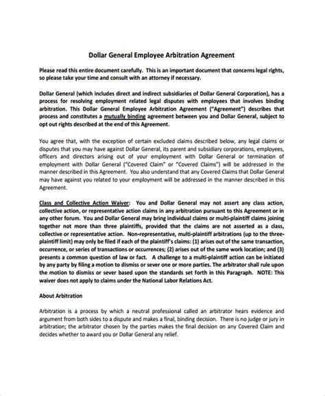 employment arbitration agreement sle employment arbitration agreement 8 free