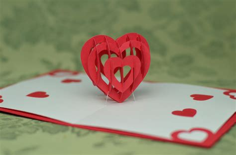 3d heart pop up card template