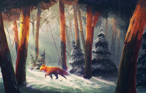 Painting In by Fox In Forest Painting Wallpaper Hd Wallpapers Hd