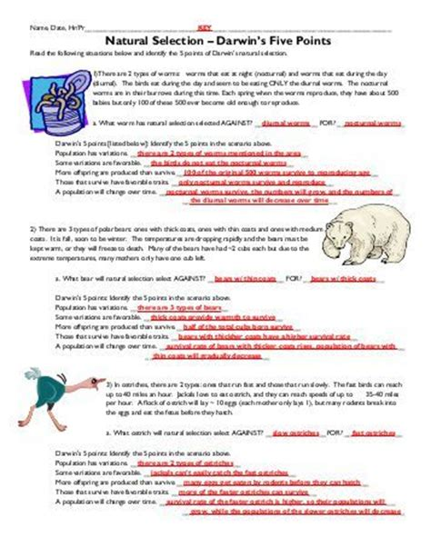 Darwin S Selection Worksheet by Selection Worksheet Lesupercoin Printables Worksheets