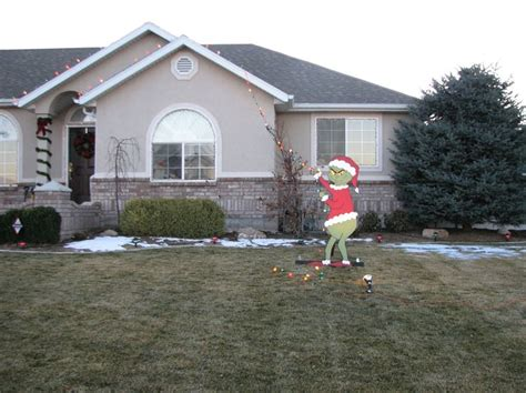grinch outdoor yard decor holidays pinterest